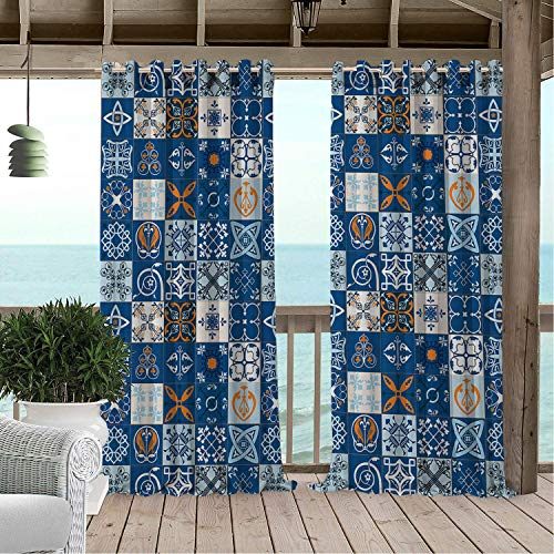 (Linhomedecor Outdoor Waterproof Curtain Patchwork Europe Folkloric Symbols in Mosaic Grid Pattern Abstract Motifs Ba Blue Royal Blue Orange Porch Grommets Parties Curtain 96 by 84)