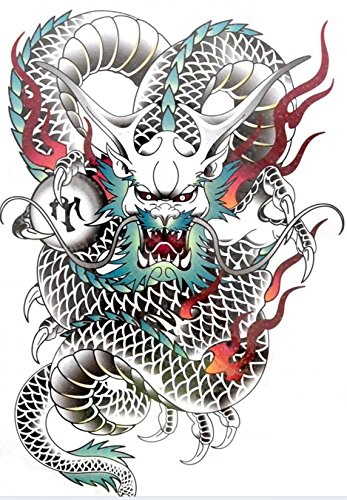 """Big size fake tattoo stickers for back Length 12.6"""" X Wide 8.66"""" colorful cool dagron fake tattoo stickers for men"""