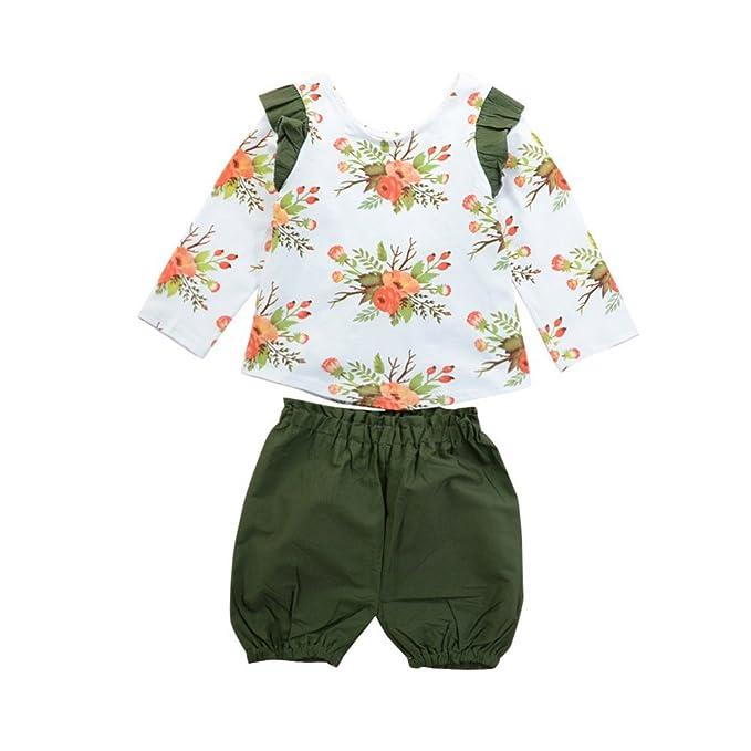 Brightup Bebé Niños Chicas2 piezas conjunto 2018 Primavera Verano trajes, blusa manga larga camiseta Tops + Pantalones cortos: Amazon.es: Ropa y accesorios