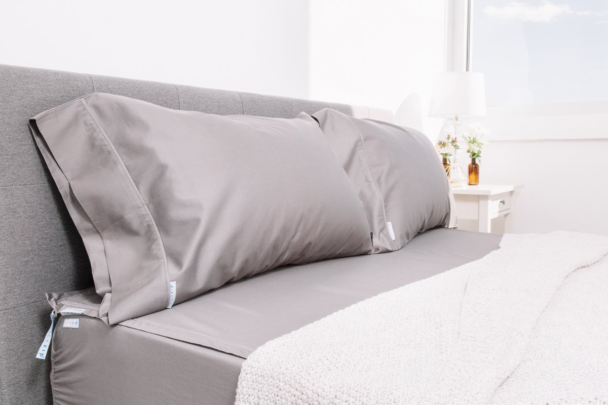 QuickZip 2 Pack, the Fitted Sheet that Won't Pop Off | Easy to Change & Fold | 400-Thread-Count Sateen Cotton, Deep Pockets (18''), Warm Gray, King by QuickZip