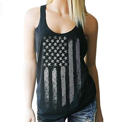 6b3be062294fa7 Duseedik Tops Hot Sale Womens American Flag Tank Tops Casual Blouse  Sleeveless T Shirt Blouse (