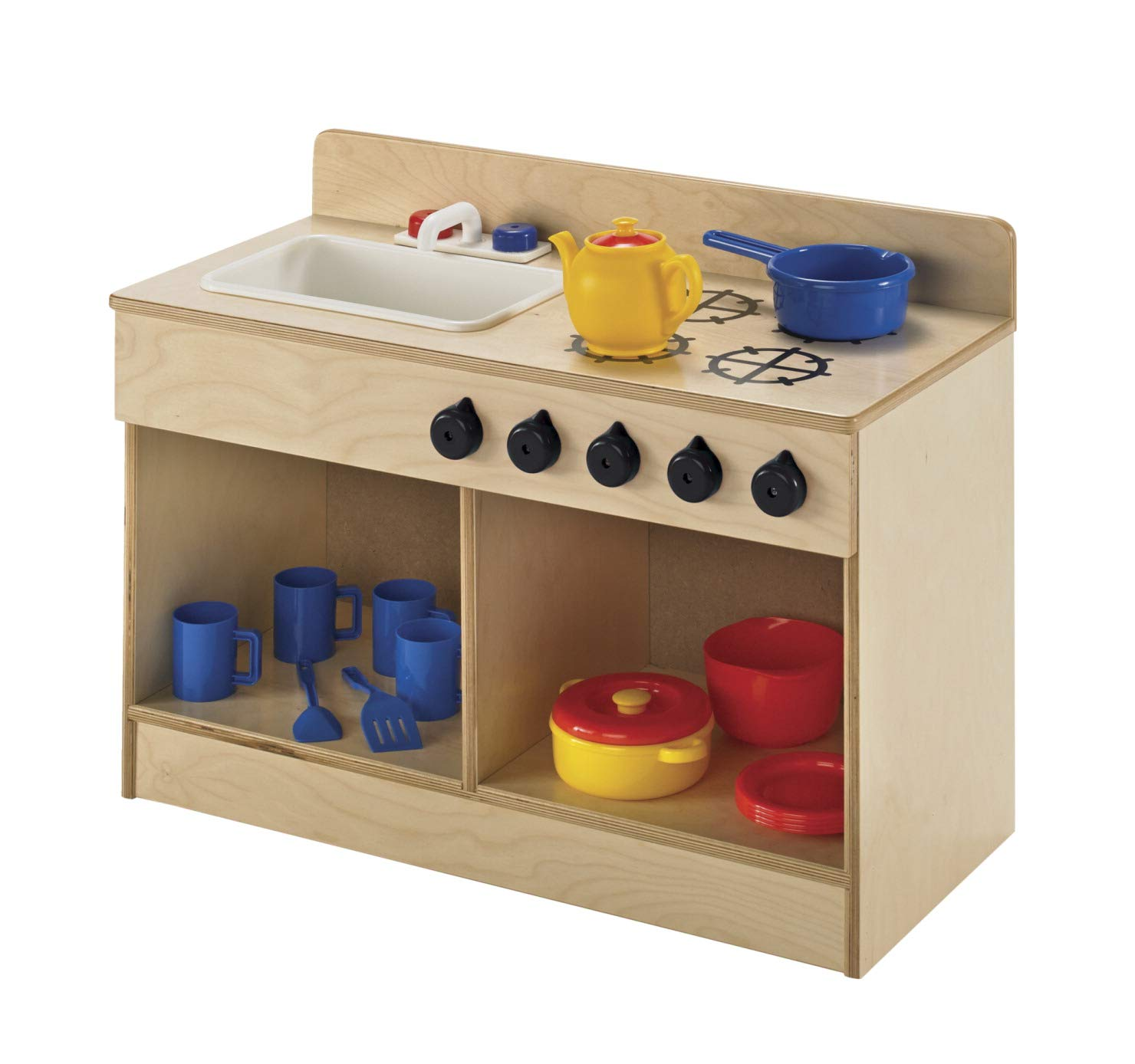 Childcraft 1491196 Toddler Sink and Stove Combo, 21.5'' Height, 13.38'' Width, 29.5'' Length, Natural Wood by Childcraft (Image #5)