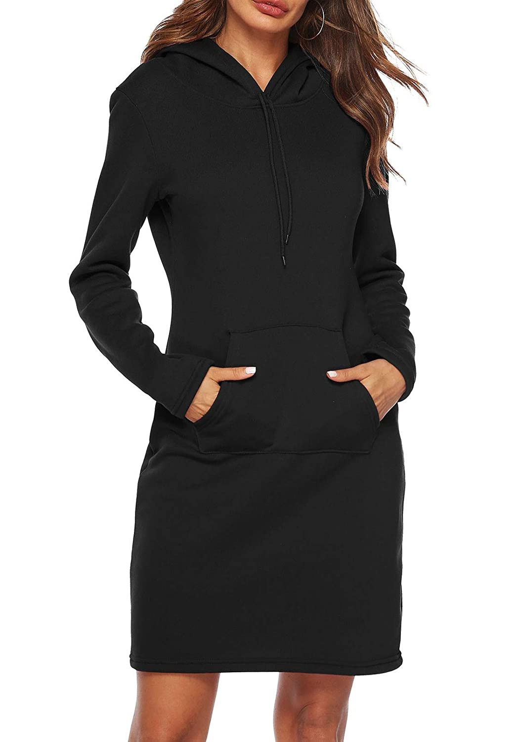 Hilization Women Long Sleeve Pocket Pullover Thicken Hooded Sweatshirt