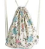 Rieovo, zaino in cotone e lino stampato con coulisse, per donne e bambini, sacca per educazione fisica, borsa da viaggio, borsa da spiaggia, 33x 40cm