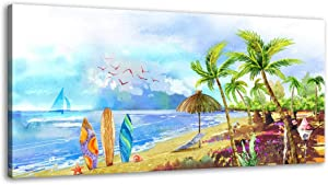 XF Canvas Wall Art for Bathroom - Blue Artwork Palm Tree Kids Wall Art Landscape Beach Picture Living Room Canvas Art Abstract Ocean Theme Modern Painting Hanging Artwork Office Decor