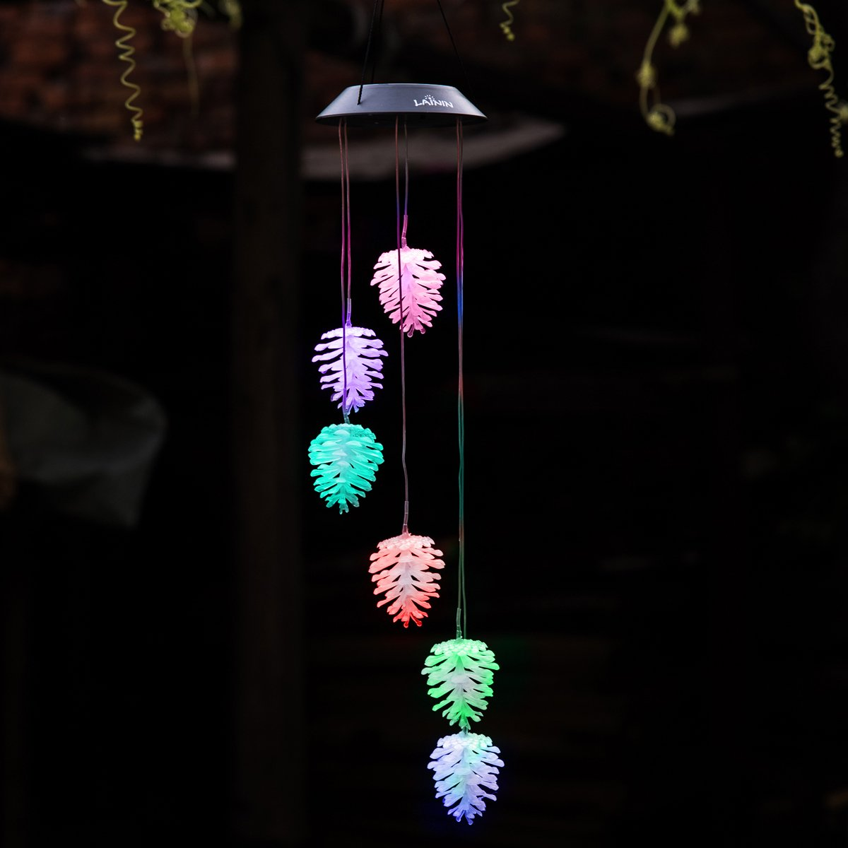 Color Changing Pine Cone Wind Chime, Novadeal Solar Spiral Spinner Windchime Light Hanging Night Lamp for Outdoor Indoor Decor