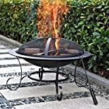 Cheap Elegant Wood-burning Brick Pattern 30″ Round Steel Fire Pit, Bronze