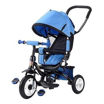 Triciclos Niños Bicicleta para Niños Trike Baby Bike Carrito para Bebés de 1-3-5 Años de antigüedad, con Techo corredizo panorámico (Color : Azul): ...