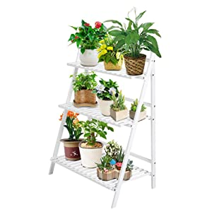 Plant Flower Stand Rack Shelf 3-Tier Foldable Bamboo Ladder Shelf Wooden Tiered Tall Plant Stand Outdoor Indoor Display with Gloves, Screwdriver, 3pcs Mini Plant Tools for Garden Greenhouse (White)