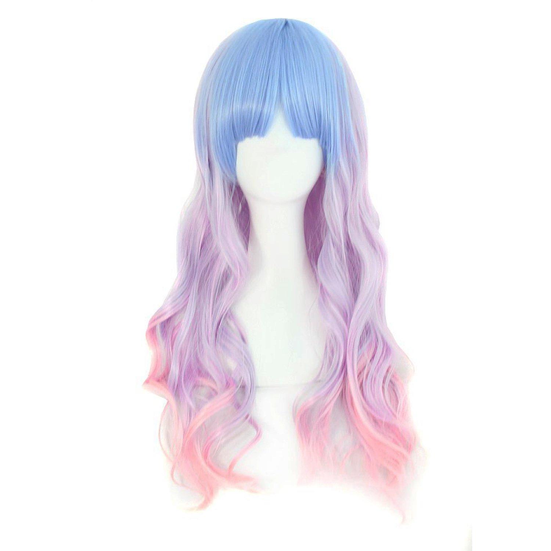 Amazon.com   MapofBeauty Beautiful Long Wavy Harajuku Style Cosplay Wig ( Light Blue Light Purple Pink)   Beauty ed24813c7