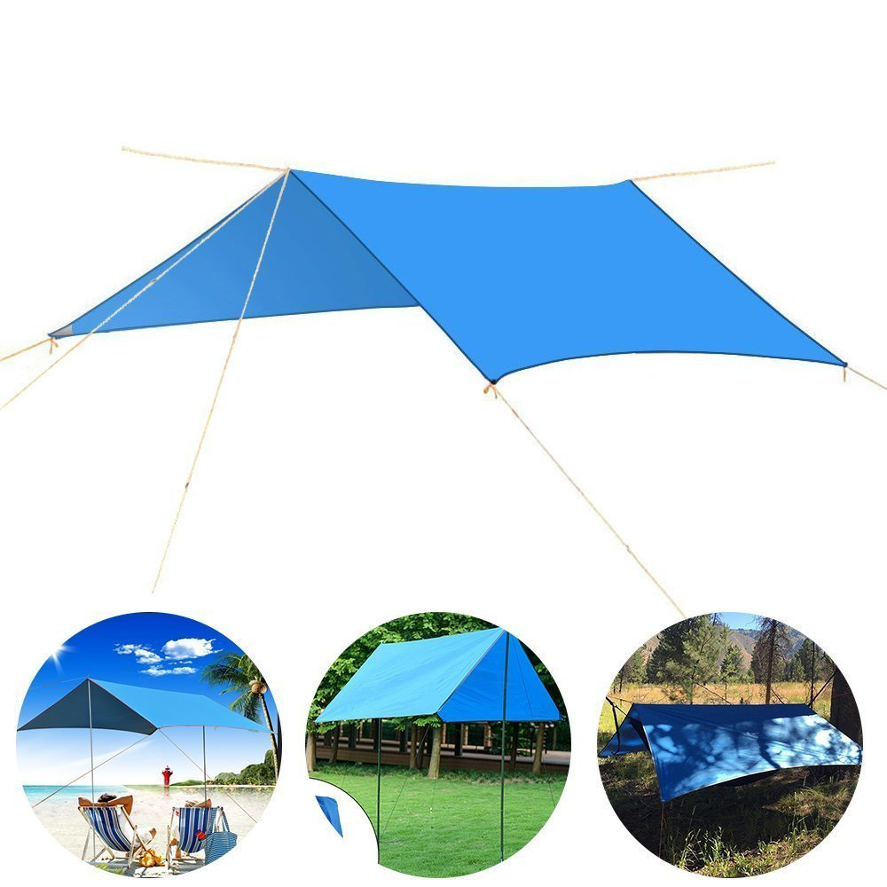 Rain Tarp DIWUER Hammock Waterproof Cover Tent Shelter Picnic Mat Blanket with Reflective Rope and Stakes for Camping Beach (10x10ft)