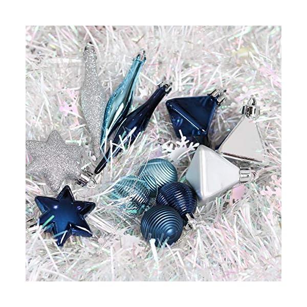 Valery Madelyn Palle di Natale 45 Pezzi di Palline di Natale, 3-4 cm Auguri Invernali Argento e Blu Infrangibili Ornamenti Palla di Natale Decorazione per la Decorazione Dell'Albero di Natale 7 spesavip