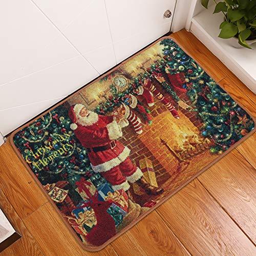 LOCHAS Christmas Carpet Runner Santa Claus Holiday Decor Stocking Stuffer Area Rug Welcome Doormat for Kitchen Living Room Dining Dorm Room Bedroom Home Hallway (2 X 3 ft)
