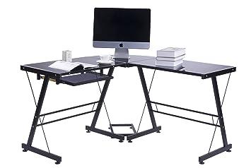 Merax bureau moderne bureau d ordinateur bureau d angle en forme
