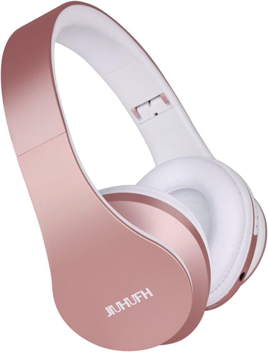 JIUHUFH Auriculares Bluetooth con Micrófono / MP3 / Radio FM/Manos Libres para Teléfonos Celulares - Rosados