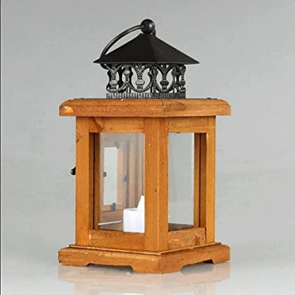 HBA Estilo Country Americano Vela Decorativa Linterna de Madera Retro nostálgico Candle Light Bar Portavelas Adornos