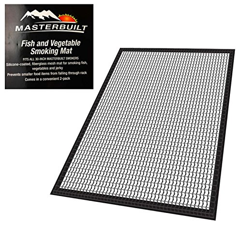 Masterbuilt Fish and Vegetable Mat for 30 inches Smoker Non Stick Silicone Coated Fish Jerky Vegetables Most Small Food Dishwasher Safe 2 Pieces - Flavor Fish Jerky