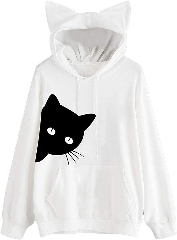 Women Girl Hoodies Cute Cat Ear Blouse Novelty Printed Long Sleeve Loose Pullover Sweatshirt Tops with Pockets