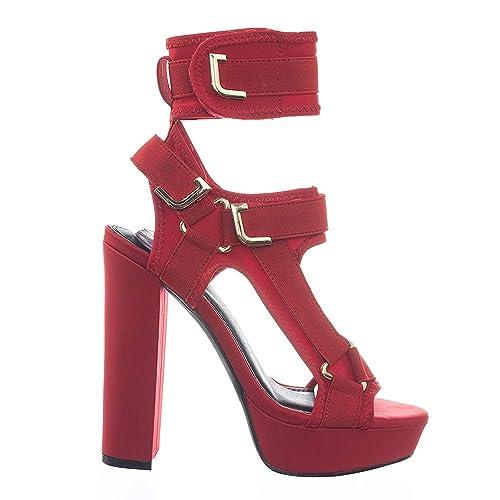 70ad75d3152 Amazon.com   Liliana Women Strappy Elastane Harness Chunky Platform ...
