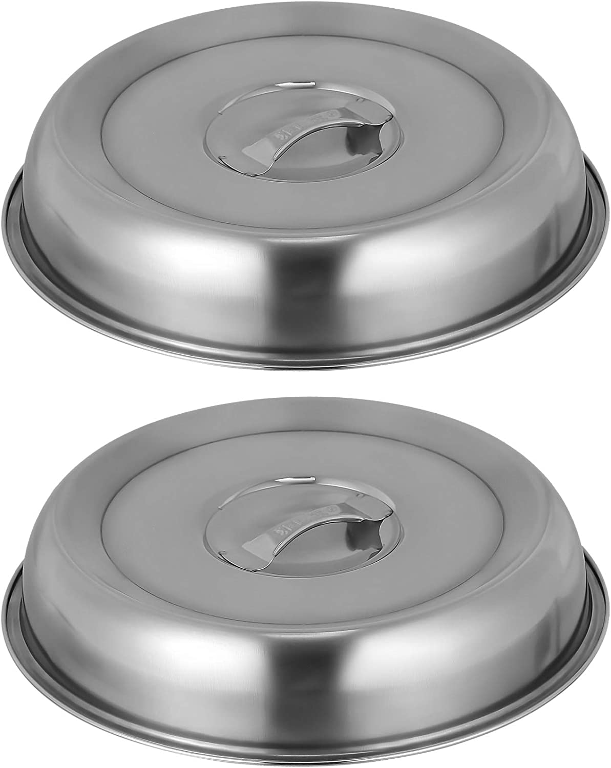 HEMOTON 2pcs Stainless Steel Basting Cover Round Cheese Melting Dome Steaming Cover Food Plate Serving Cover Protectors Pan Pot Lid for Flat Top Griddle Grill Smoker 20CM