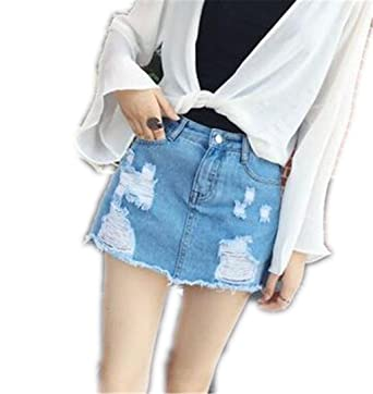 876520f2d5 NZDQ Skirts for Women Denim Skirts Short Summer High Waist Denim Shorts  Jeans for Girls White Blue Skirt at Amazon Women's Clothing store: