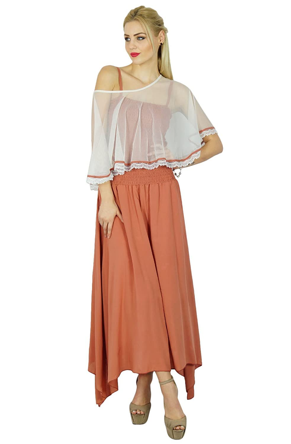 Bimba Women Long Maxi Dress Smocked Waist Top Comes With Poncho Top Chic Cape