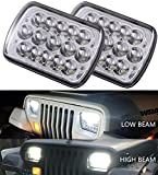 """2pcs DOT approved 5""""x7"""" 6x7inch 45w Rectangular Sealed Beam Led Headlights for Jeep Wrangler YJ Cherokee XJ Trucks 4X4 Offroad Headlamp Replacement H6054 H5054 H6054LL 69822 6052 6053 w/ H4 Plug"""