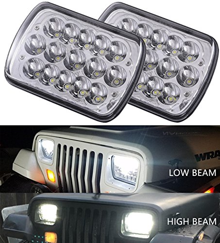 Gmc S15 Pickup Truck Headlight - 2pcs DOT Approved 5x7 6x7 inches 45w Rectangular Sealed Beam Led Headlights for Jeep Wrangler YJ Cherokee XJ Trucks 4X4 Offroad Headlamp Replacement H6054 H5054 H6054LL 69822 6052 6053 with H4 Plug