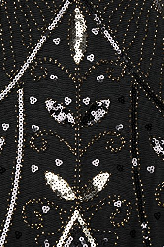 Años 20 Disfaz Vestido Flecos Vestido Flapper Negro Noche Oro Lentejuelas con Estilo Vestido de los Gatsby ArtiDeco de Vintage qwcWRtfx