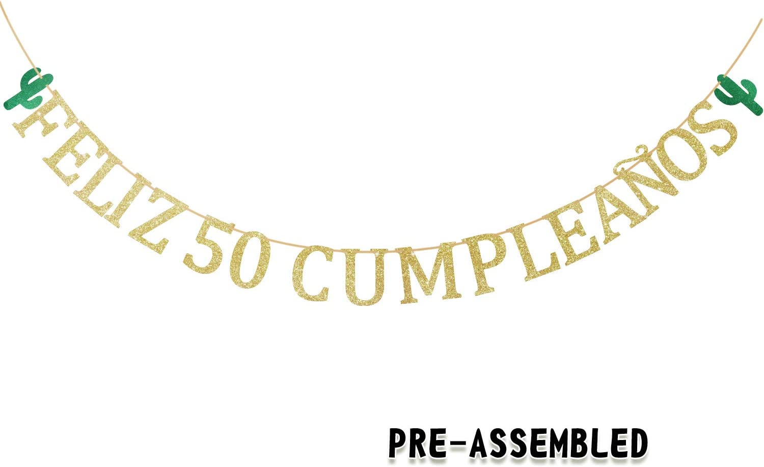 Feliz 50th Cumpleaños Birthday Banner - Gold Glitter Spanish Fifty Years Old Garland - Man Woman Fabulous 50 Anniversary Party Decoration