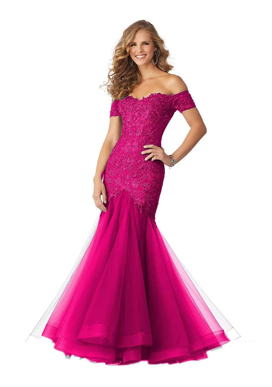 color 5 Unions Women's Off Shoulder Sexy Mermaid Long Formal Dresses Tulle Lace Applique Evening Prom Gown