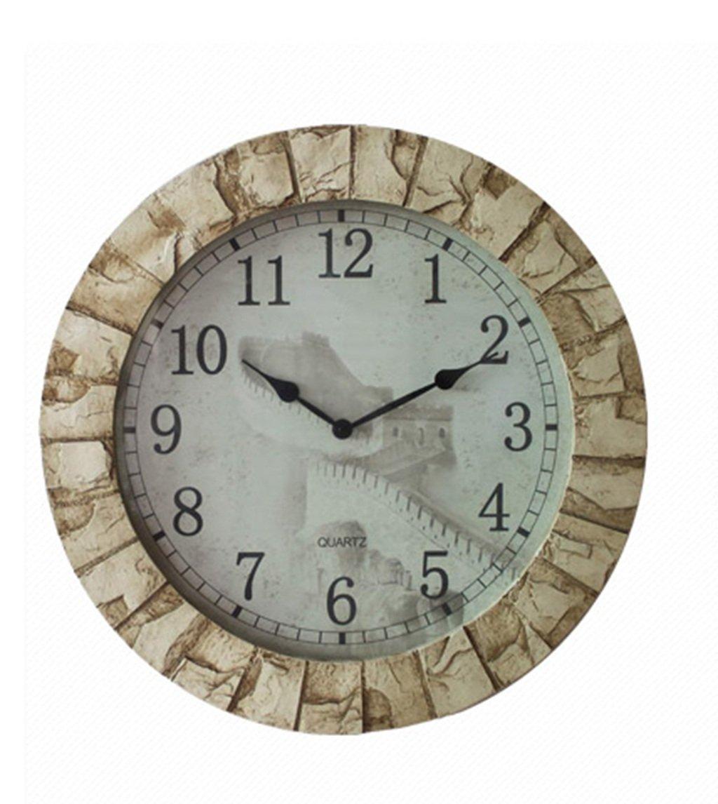JCRNJSB® 中国の時計のリビングルームミュート時計樹脂模造のロック時計のポケットウォッチ 壁掛けサスペンション クロックウォールクロック クォーツ時計 B07D3JTKP2