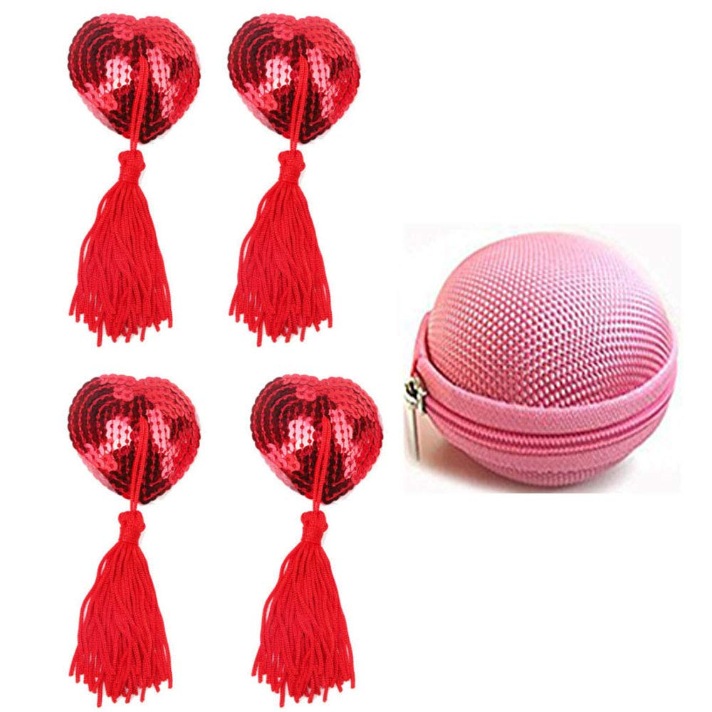 Women Reusable Silicone Adhesive Nipple Cover Heart Pasties Bra Breast Petals with Tassel