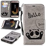 Misteem Cartoon Case Samsung Galaxy J7 2017, Cute Retro Panda Pattern Leather Cases Flip Shockproof Card Holder Bookstyle/Stand / Magnetic Wallet Cover Protector Samsung Galaxy J7 2017 - Panda Grey
