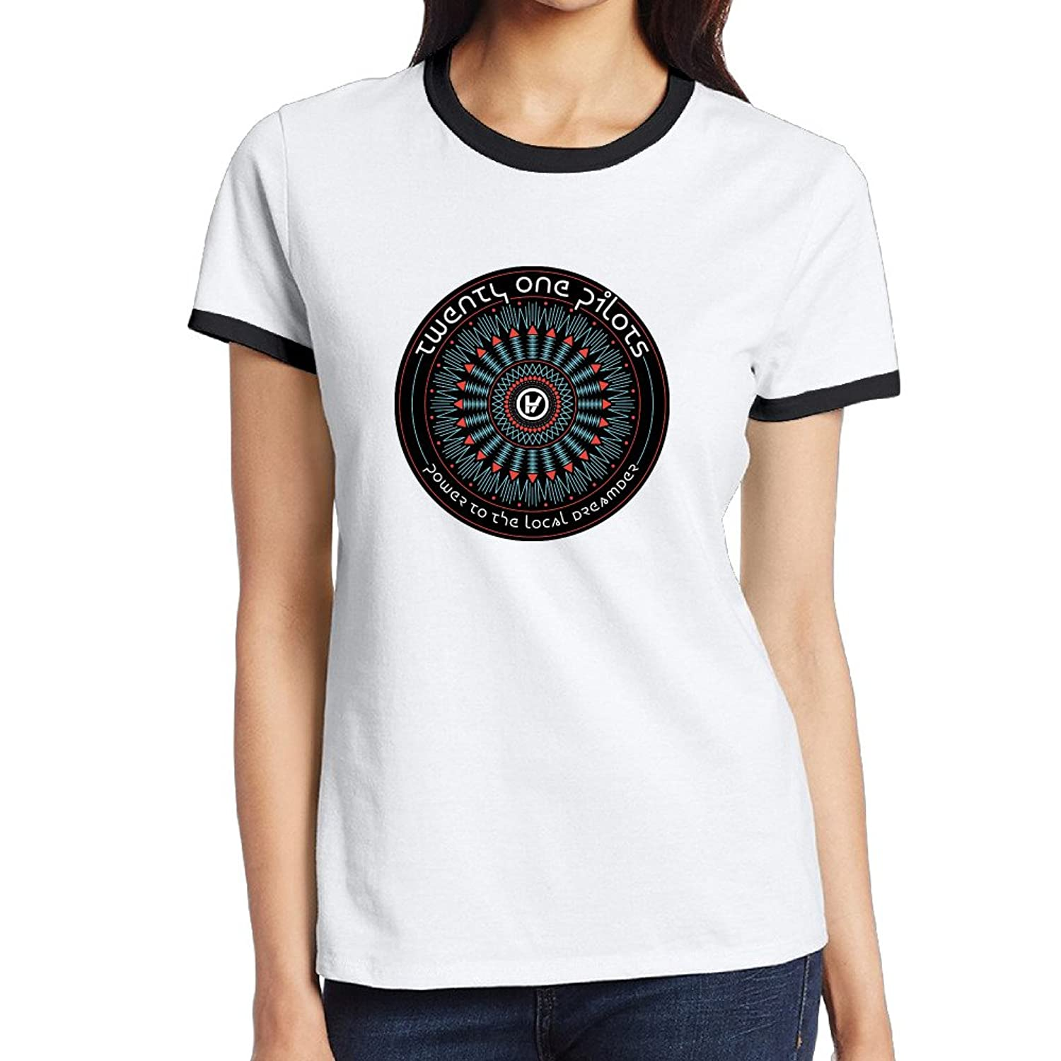 Jade Men's Two-toned T-shirt-Particular Musical Duo Band CIRLCLE LOGO Black