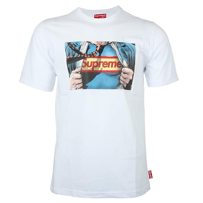 Supreme Spain - Camiseta - Redondo - para Hombre Blanco M: Amazon.es: Ropa y accesorios