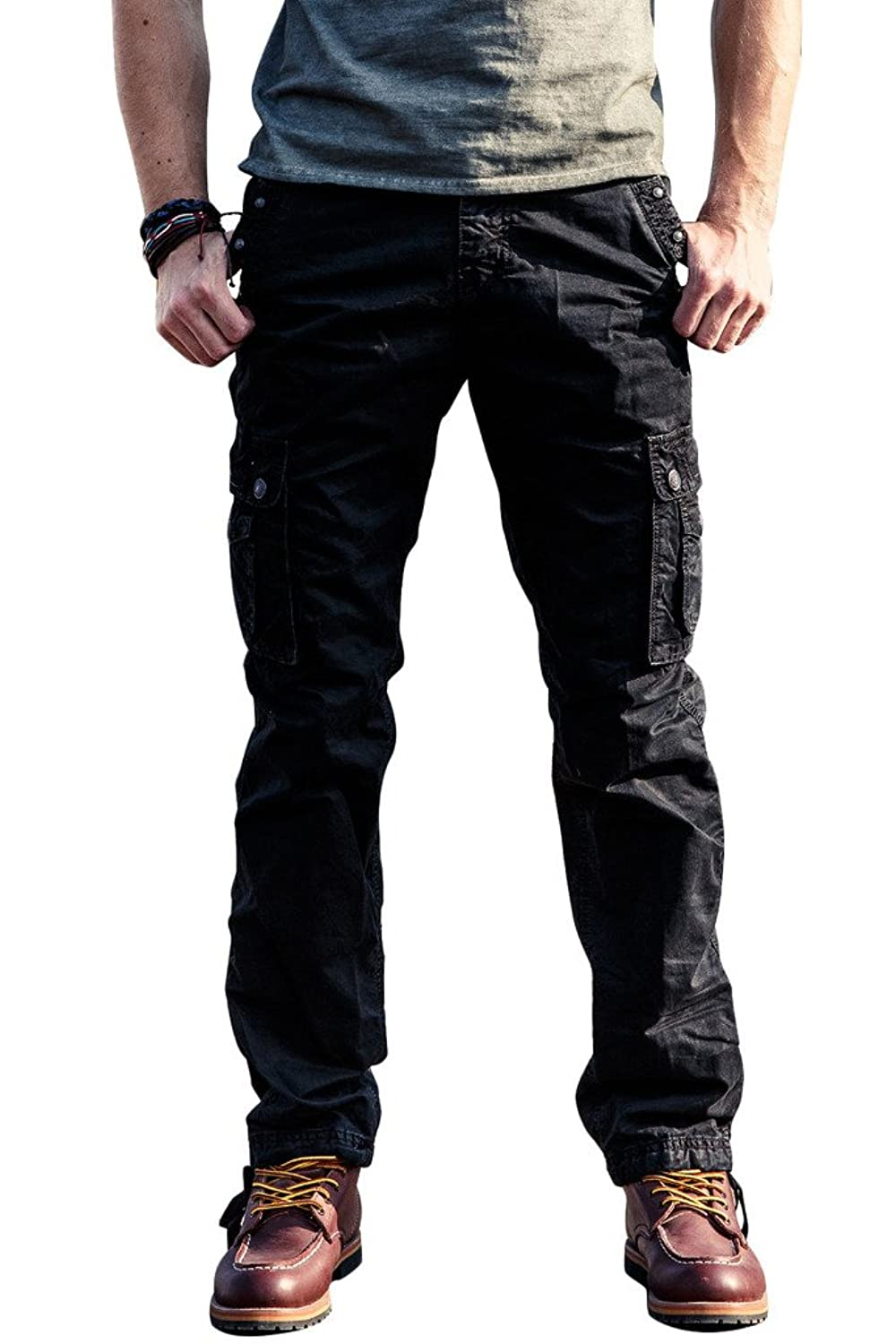 100% Cotton Wild Cargo Pants for Mens Relaxed-fit Casual Pants Trousers with Phone Pocket by INFLATION