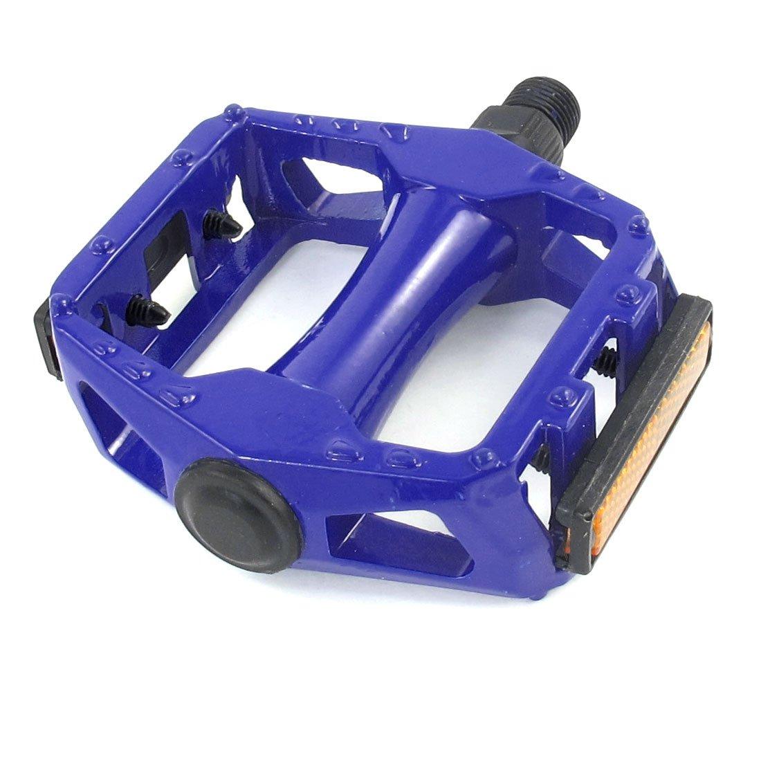 sourcing map 14mm Rosca Pedal de Recambio para Bicicleta Azul Real Metálico con Reflector Naranja a13062600ux0506