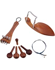 Jili Online 4/4 Violin Parts Accessories Chin Rest Tailpiece Fine Tuner Tuning Peg Tailgut Endpin Strings Kit