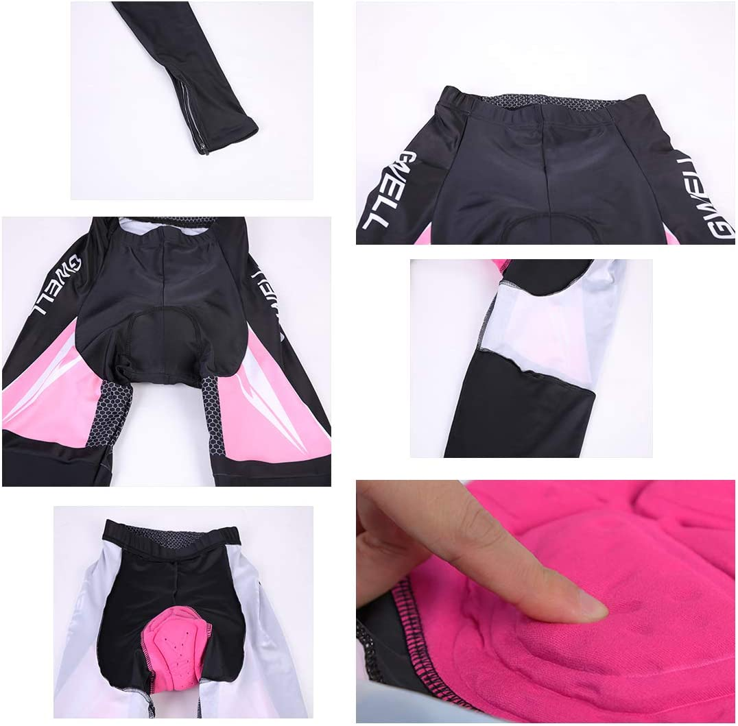 GWELL Femme Maillot de Cyclisme Fleurs V/êtements de Cyclisme Ensemble Maillot /à Manches Courtes Pantalon avec si/ège rembourr/é