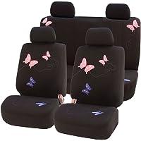 FH Group FH-FB053115, juego completo de fundas para asientos de coche con diseño floral bordado, color negro, compatible con airbag y banco dividido, se adapta a la mayoría de coches, camiones, SUV o furgonetas, Black with Butterfly Embroidery