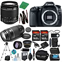 Canon EOS 80D Camera + 18-55mm IS STM + 75-300mm III + 2pcs 16GB Memory + Case + Memory Reader + Tripod + Starter Set + Wide Angle + Tele + Flash + Battery + Charger - International Version