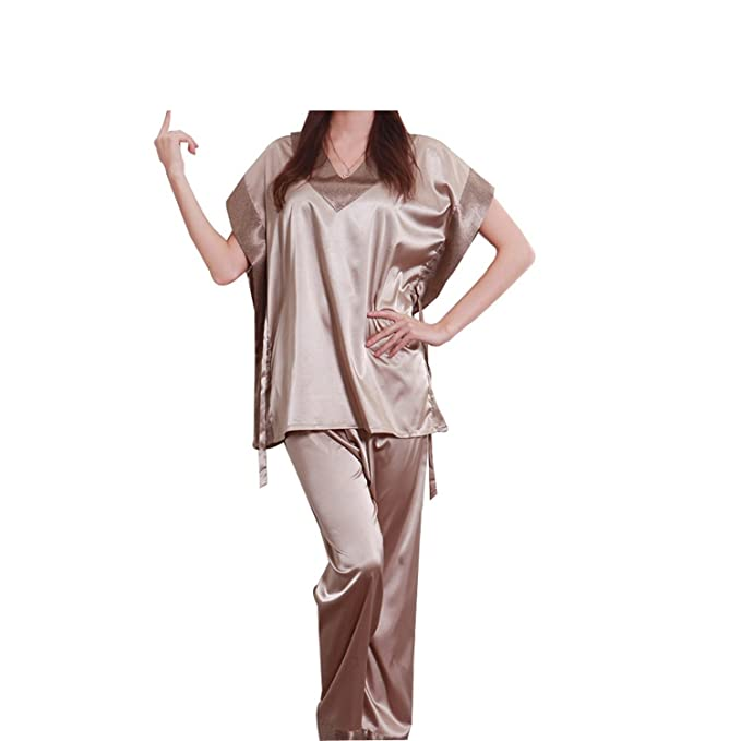 Amazon.com: Varubaba Soft Women Pajamas Summer NEW Brand Ladies Satin Pijama Short Sleeve Silk Pajamas Sets Pyjamas Women 10167: Clothing
