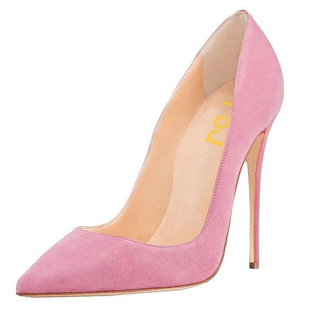 FSJ Women Sexy Suede Pointed Toe Pumps 12 cm High Heels Stilettos Prom Shoes Size 4-15 US B01MA2YHLS 6 B(M) US|Pink