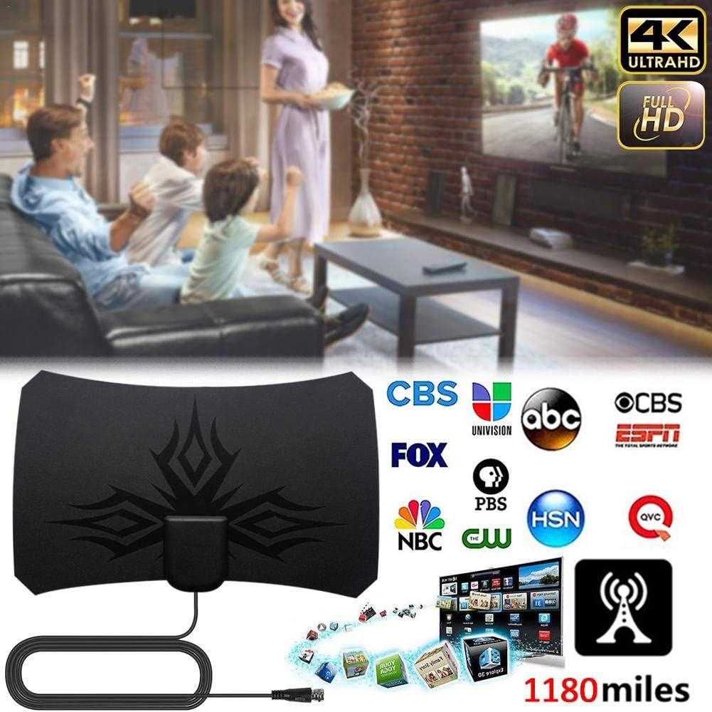 2019 New Indoor TV Antenna with Amplifier Signal Booster TV Radius Surf Fox Antena HD TV Antennas Aerial 4K Digital HDTV 1180 Miles TV Aerial Black