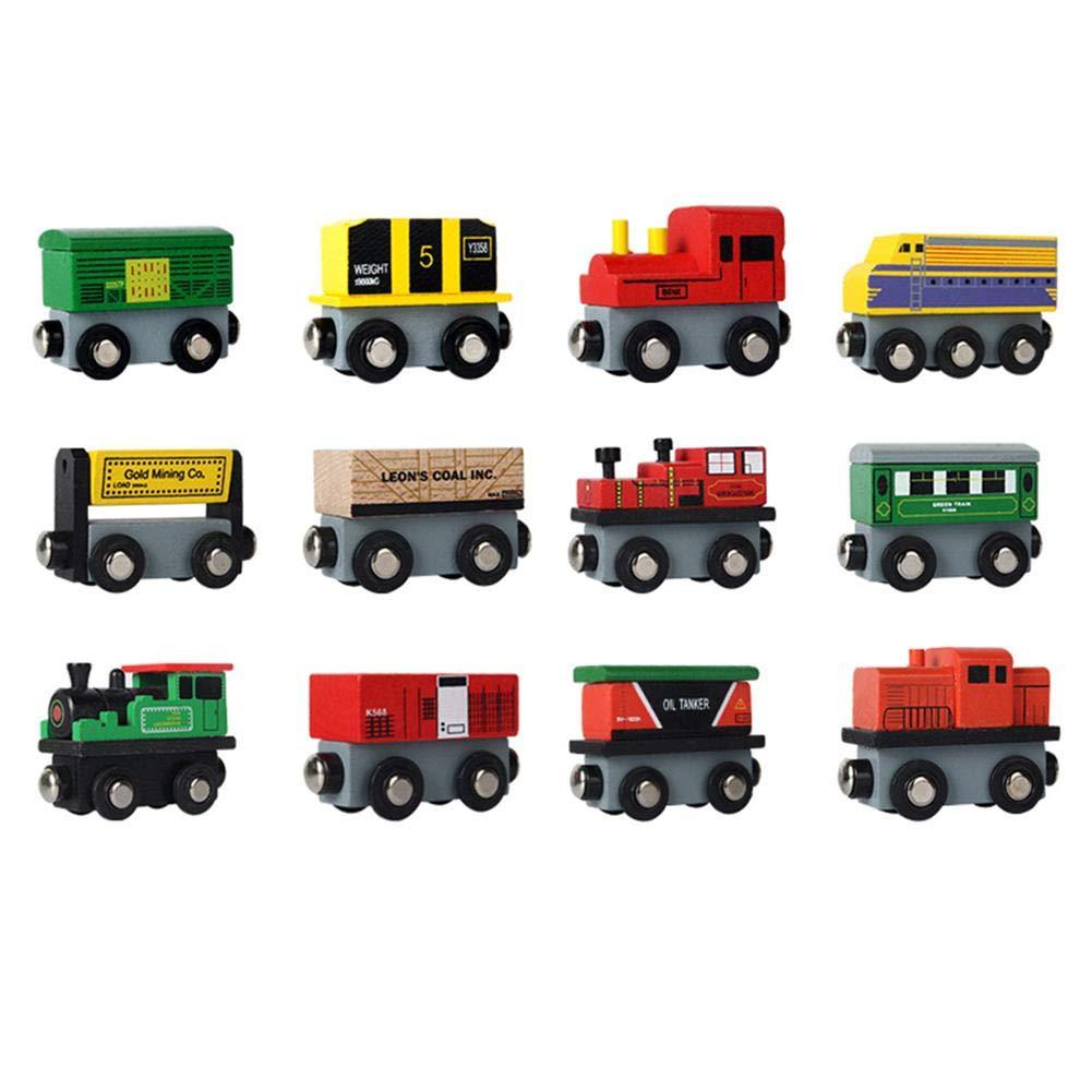 Jeu De Construction, Jouets De Train Magnétiques En Bois Mis En Petite Locomotive Enfance Educatif Ecologique Durable Modèle Sûr Pour Fils Filles Enfants LIJUMN