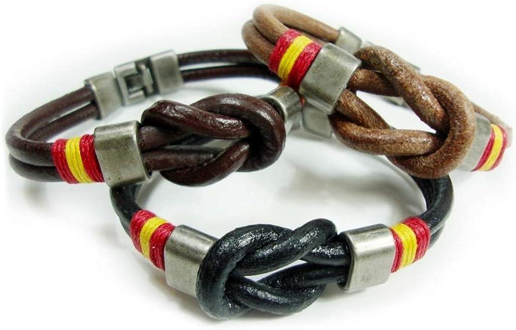 JOSVIL Pulsera españa para hombre de cuero con cordon nudo marinero. Pulsera de españa fabricada artesanalmente con cuero legítimo y cierre en zamak.