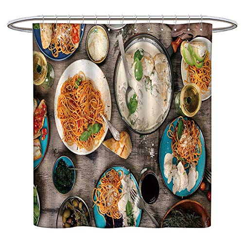 (Jiahonghome Waterproof Mold Shower Curtain Traditional Itali Foo Table Classi Pasta Tomato Sauce Non Toxic Eco-Friendly No Chemical Odor W 55 x L 72 INCH)