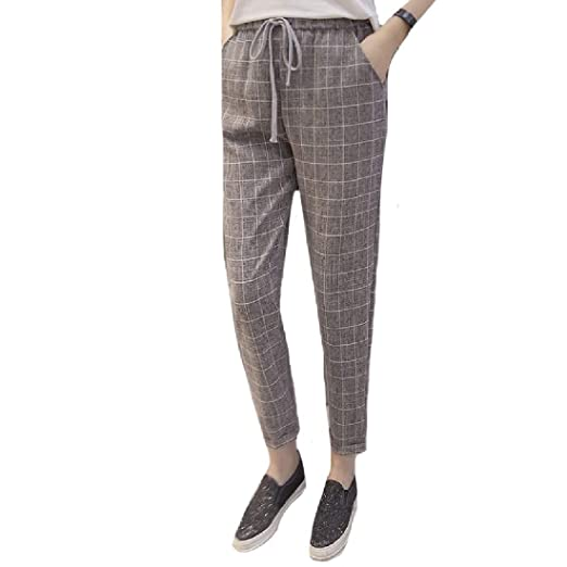 60425c01bd9b5 Andopa Women s Plus Size Slim Fit Elastic Bottom All-Match Casual Summer  Plaid Casual Legging Pants at Amazon Women s Clothing store