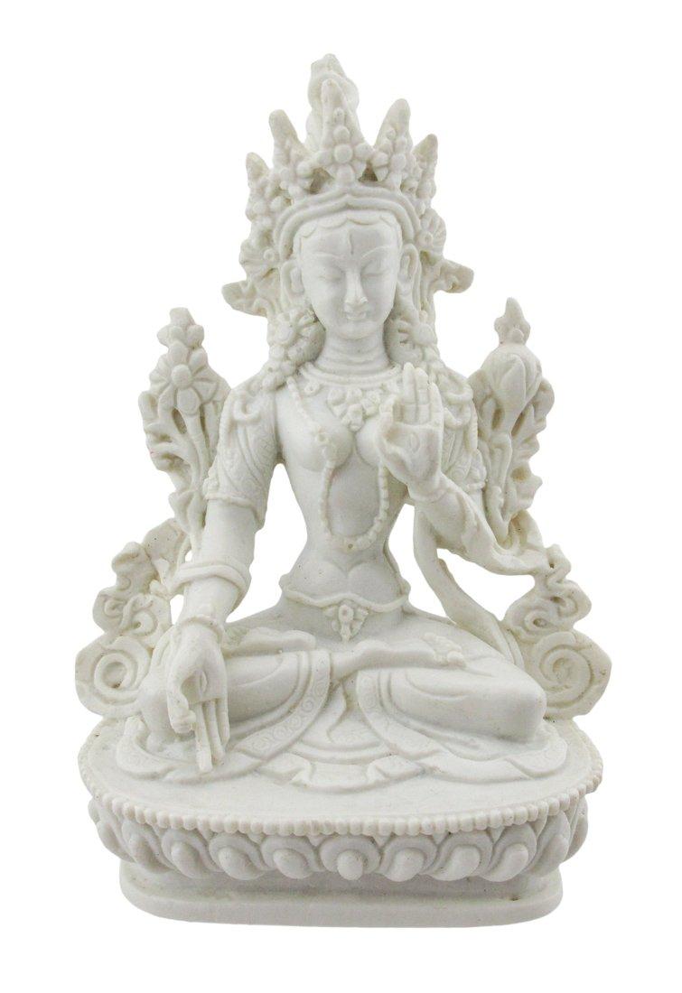 Things2Die4 Beautifully Detailed White Tara Statue Marble Look